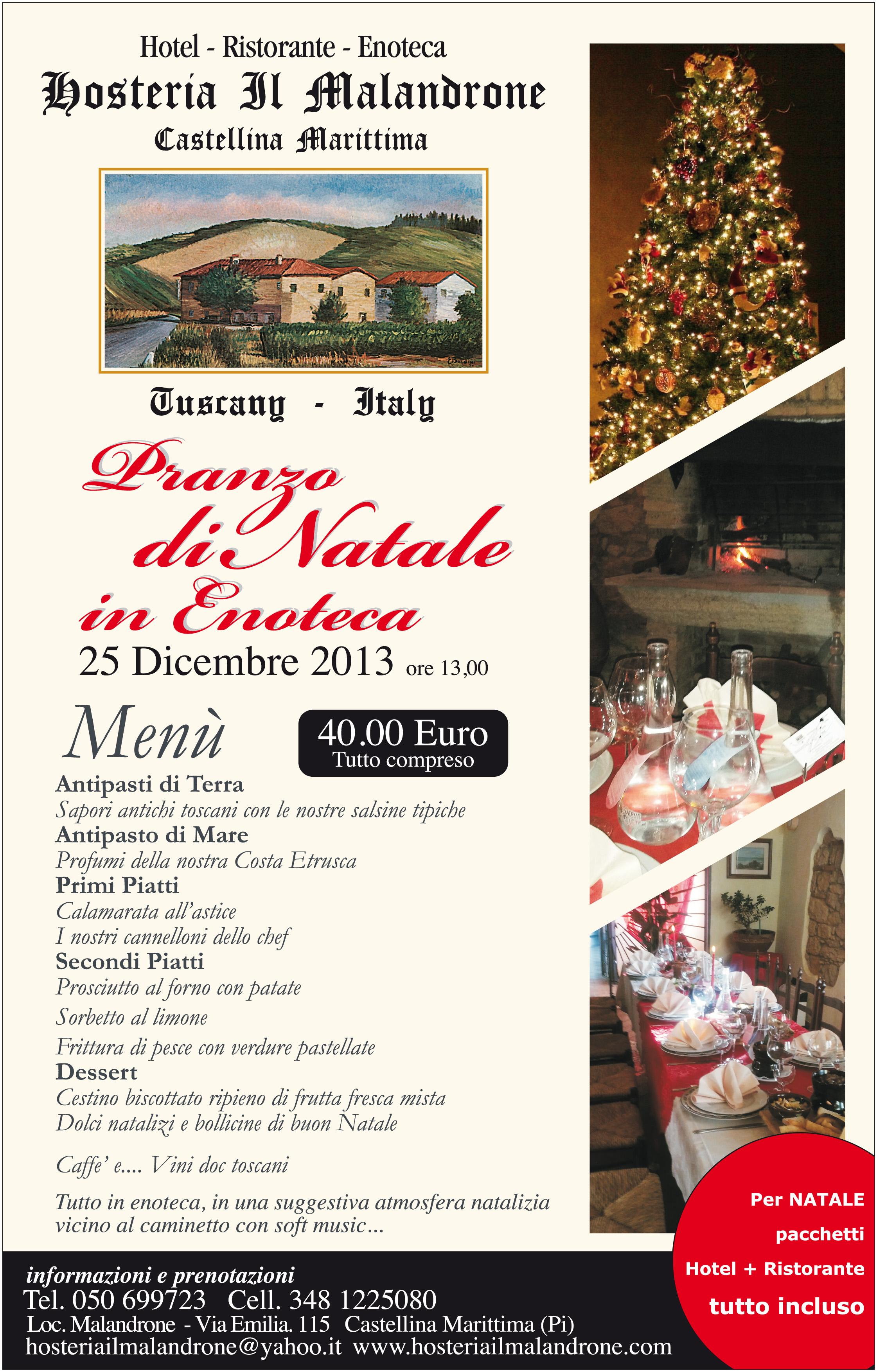 Auguri Di Natale Yahoo.Ristorante Malandrone Hotel A Castellina Marittima Toscana